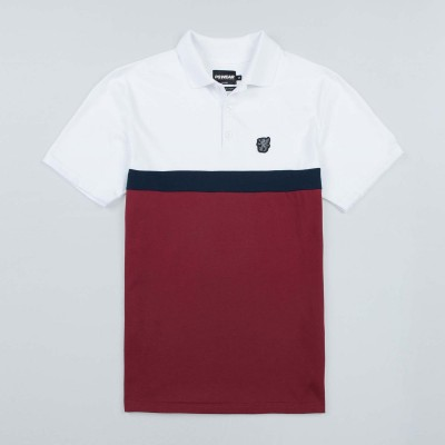 "Poloshirt ""Oldschool"" White/Red"