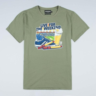 "T-shirt ""Live For the Weekend"" Olive"